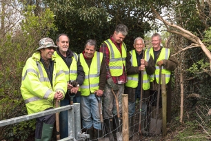 Mondays working party ready to make a start on the path to the playing fields