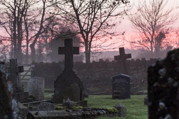 Winter sunset over St Leonard's Churchyard