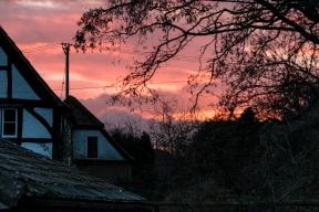 Winter sunset from Gingells Cottage garden