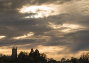 January afternoon skies over the village of Steeple Ashton from the Mid Wilts Way footpath