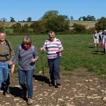 Rachel & Tony lead across Somerset fields, September 2018