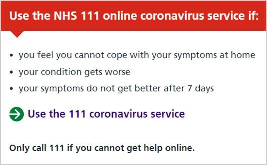 NHS 111 Coronavirus