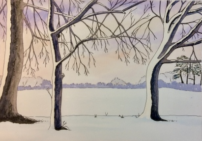 Pen ink wash painting by Colin Dimbylow