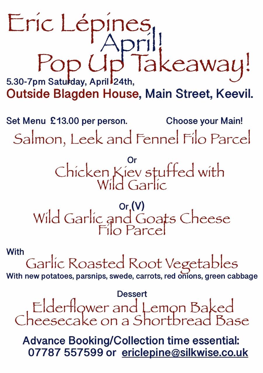 Pop-up Takeaway menu April 24th